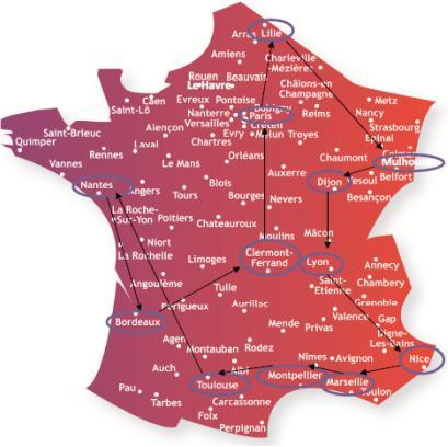 Carte de France du Train Alzheimer 2010