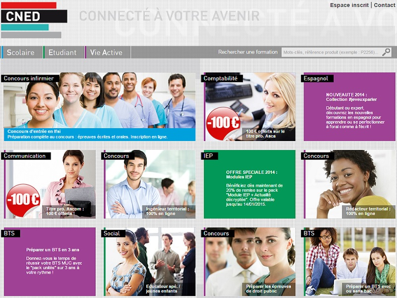 Page acceuil site internet du cned