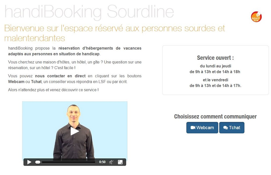 Page d acceuil du site Handi_Booking Sourdline