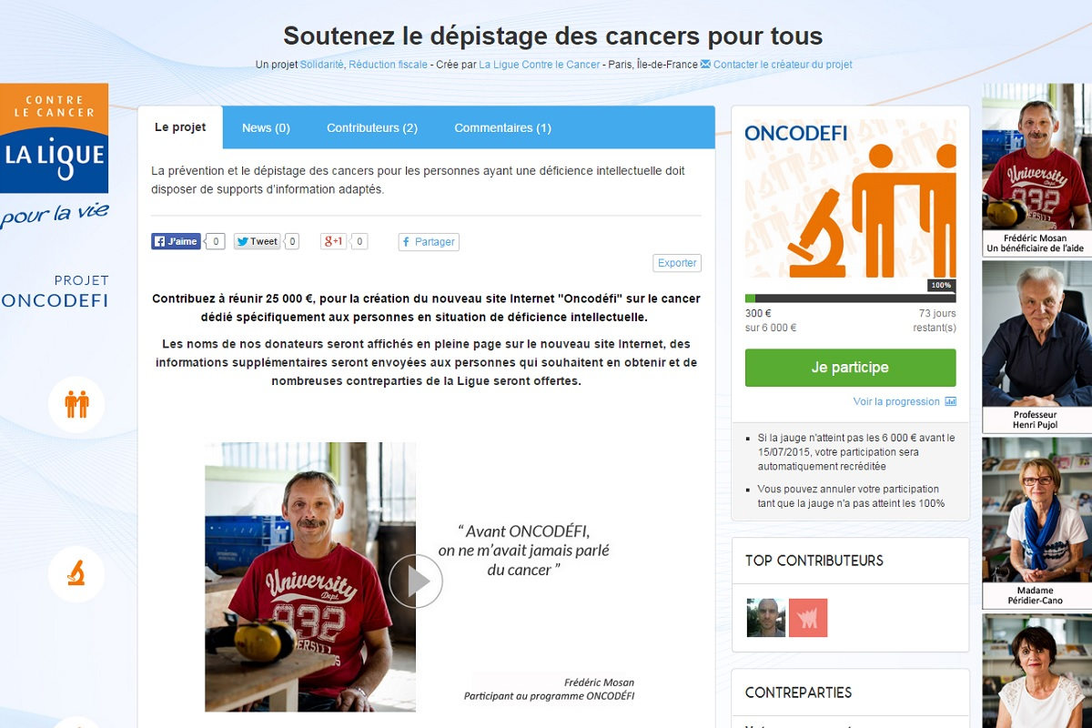 Site de Collecte de Don contre le cancer et le handicap mental