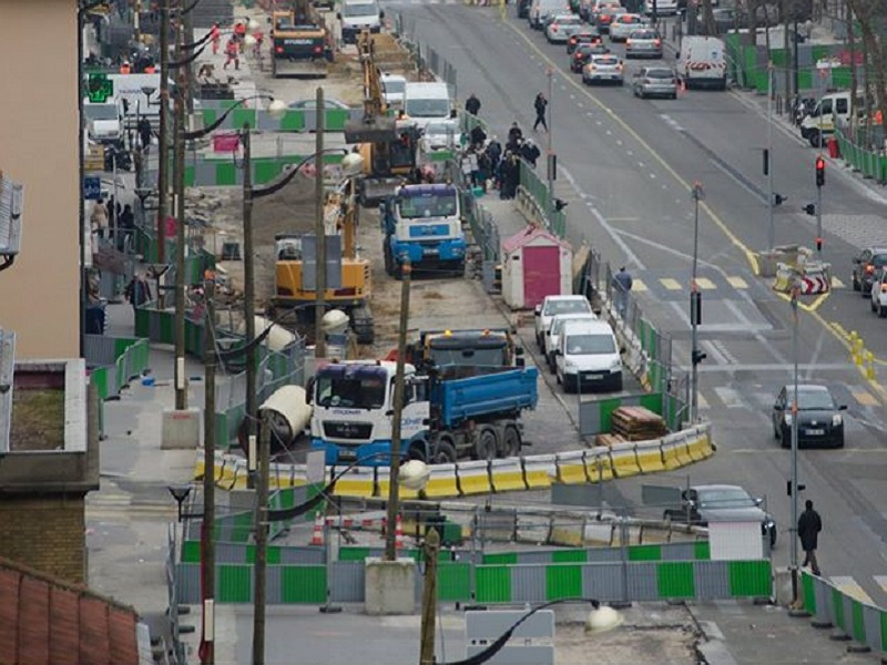 Travaux sur le prolongement la T3 a Paris le 19 mars 2015
