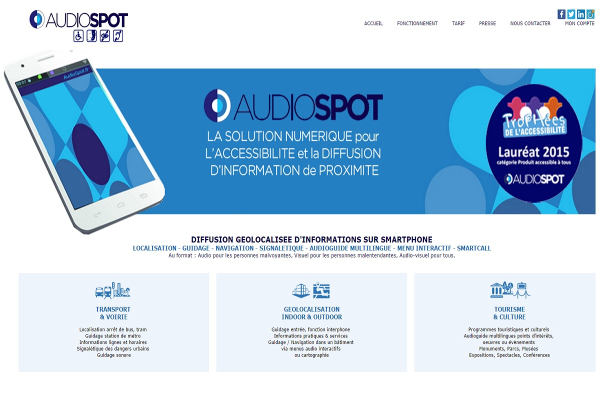 Page acceuil du site Audiospot Laureat trophees de l accessibilite 2015