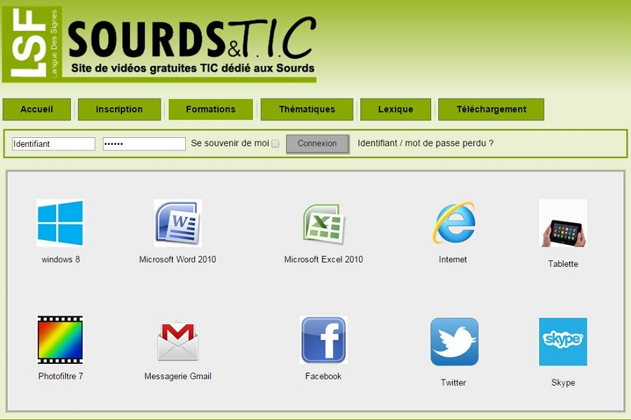 Page acceuil site sourds tic