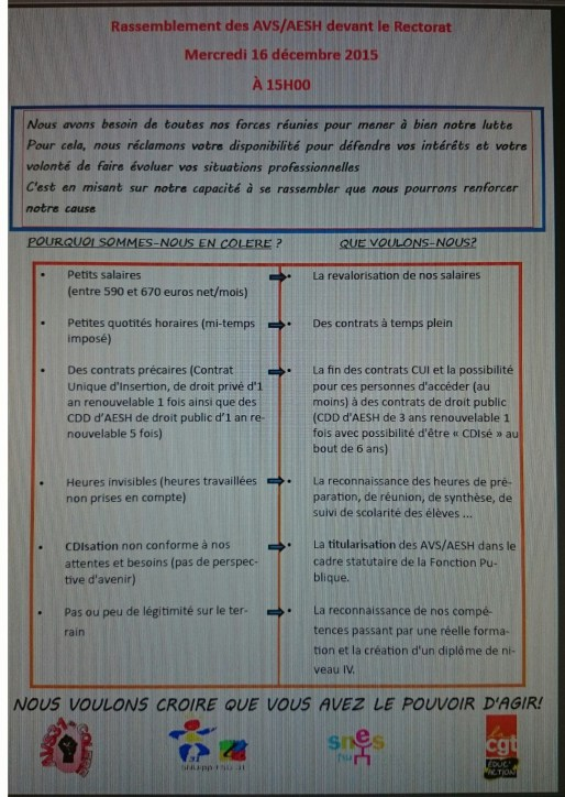 Tract distribue par le collectif AVS31