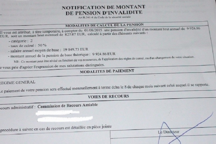 Notification de pension d invalidite cpam en 2015