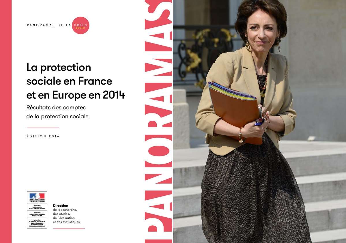 Couverture Panorama DREES La Protection sociale en France et Europe en 2014 Marisol TOURAINE
