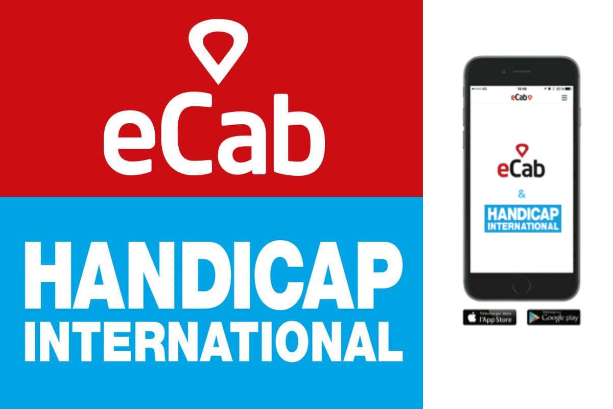 Logo partenariat eCab et handicap international