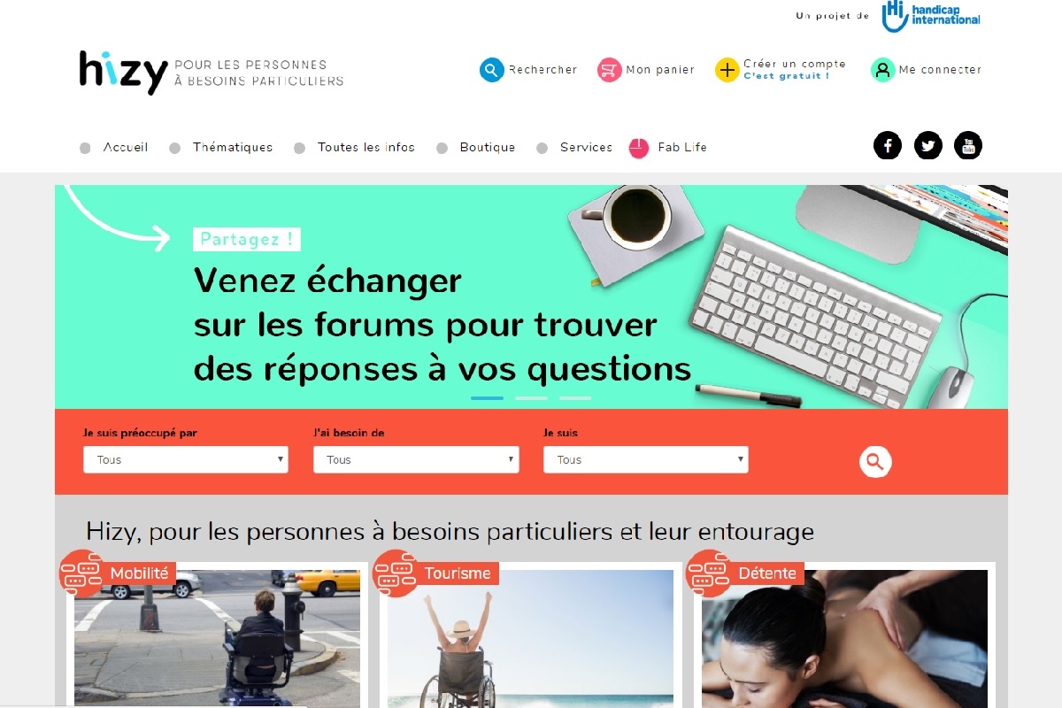 Page d'accueil du site Hizy.org mise en place par Handicap International
