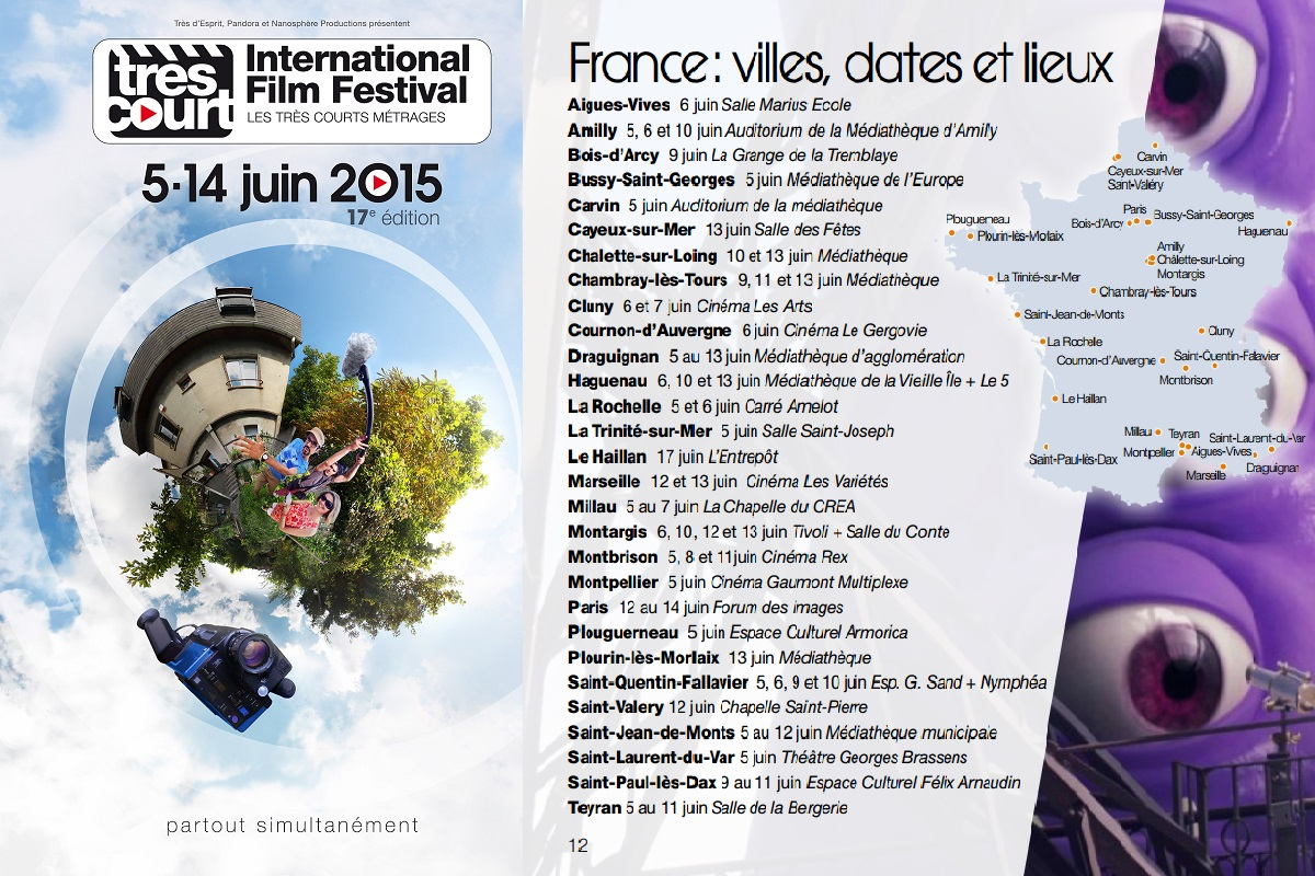 Affiche du 17e tres court international film festival et le programme en france